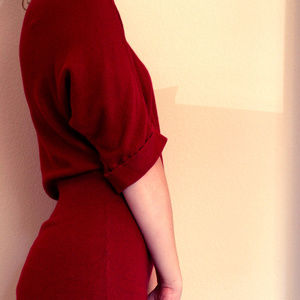 Cozy 1/2 Sleeve Red Sweater Dress